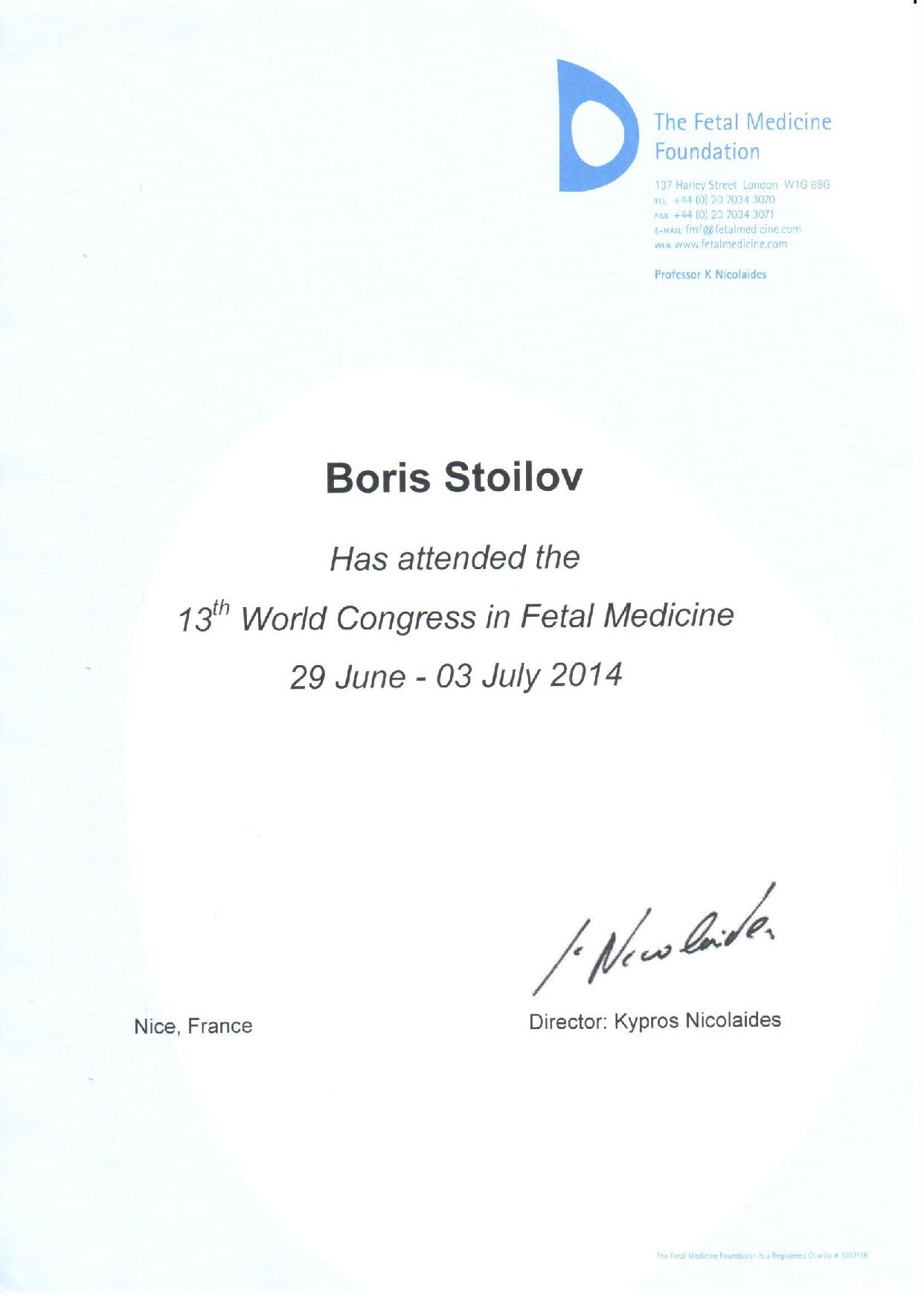 World Congress in Fetal Medicine - 2014