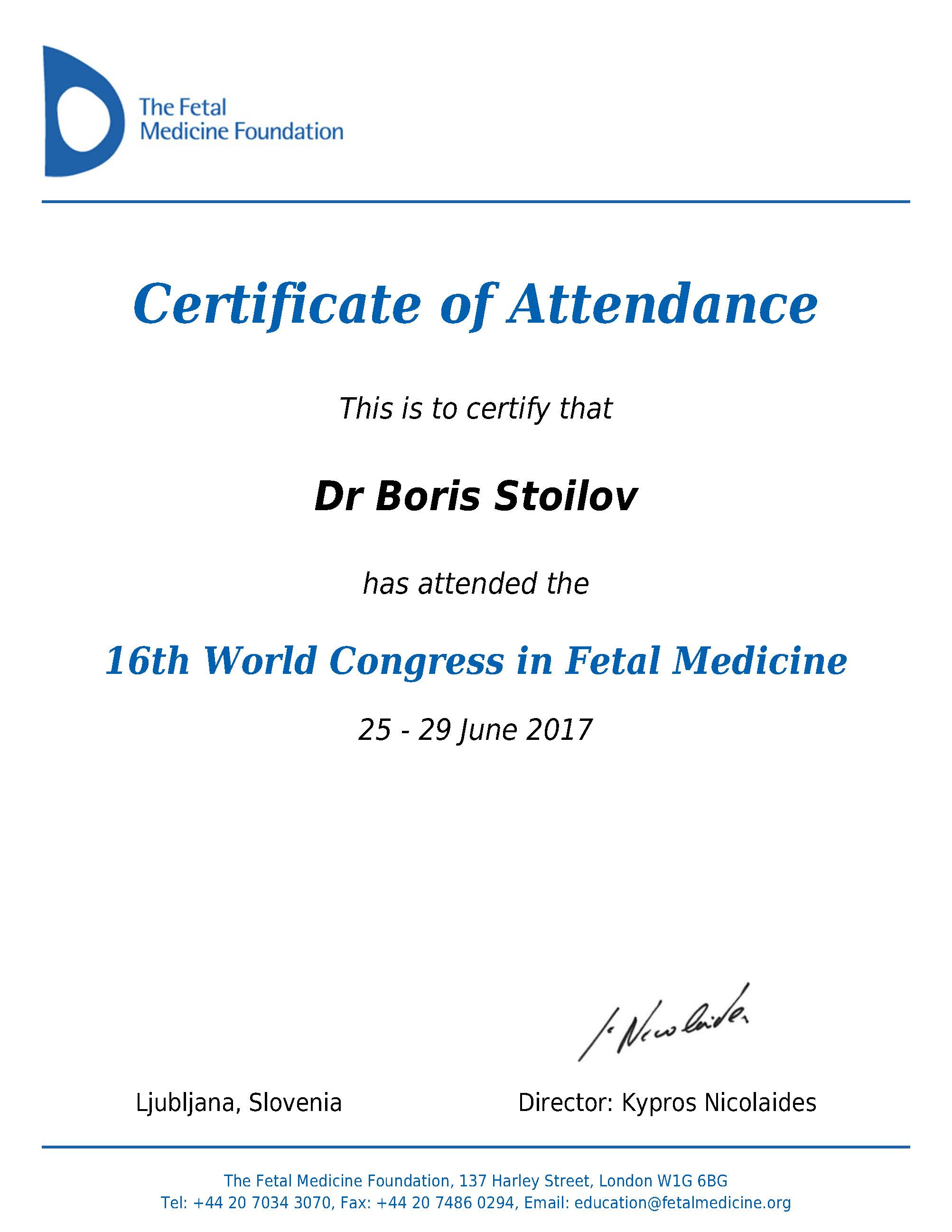 Certificate of Attendance, 16th World Congress in Fetal Medicine