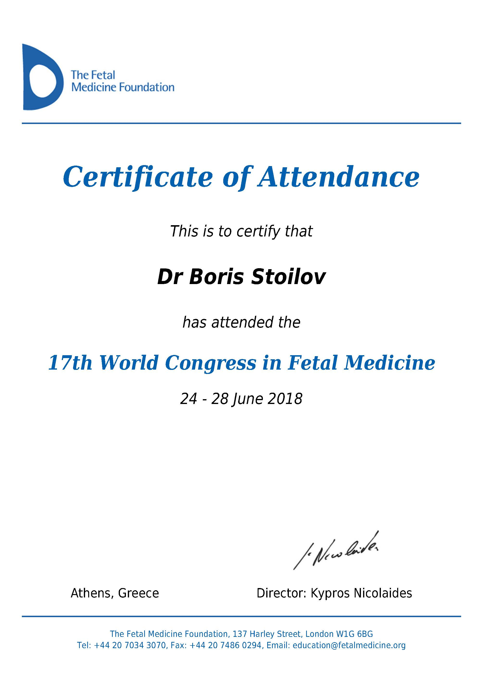Certificate of Attendance, 17th World Congress in Fetal Medicine