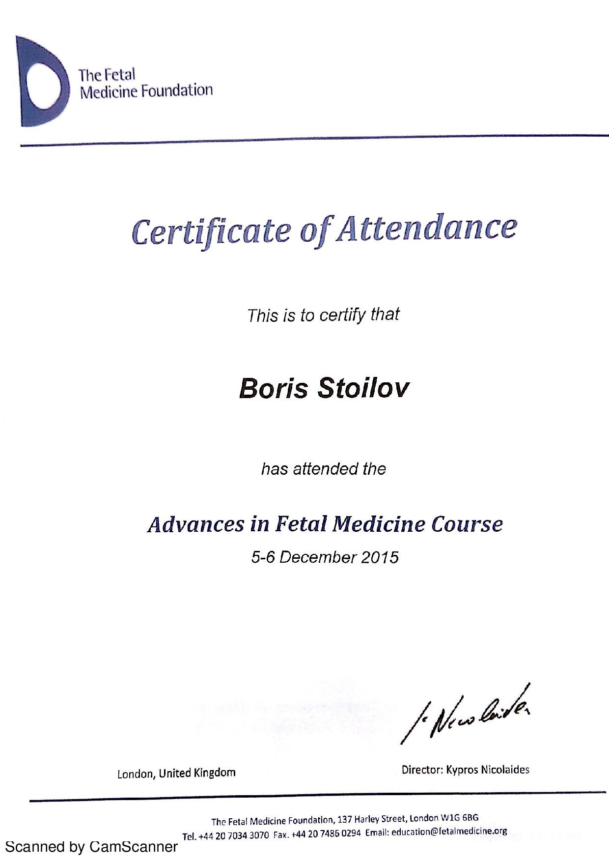 Advances in Fetal Medicine Course - 2015