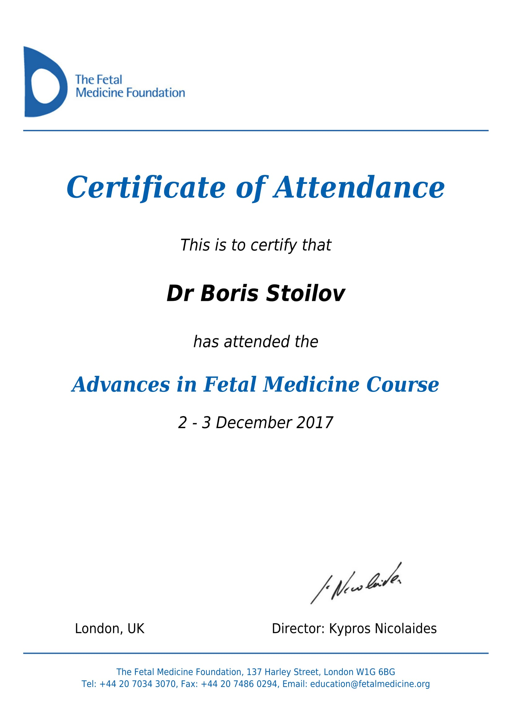 Advances in Fetal Medicine Course - 2017