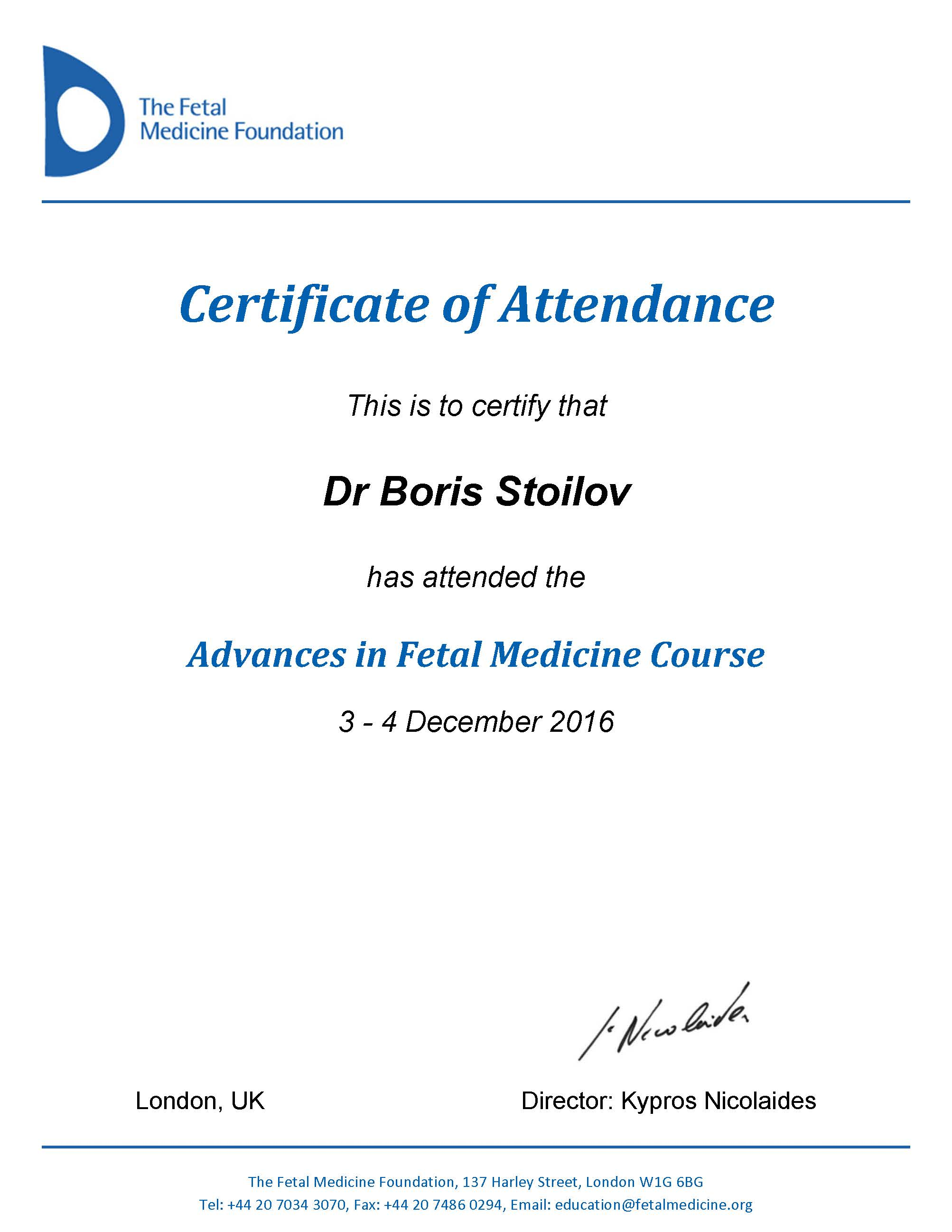 Advances in Fetal Medicine Course - 2016