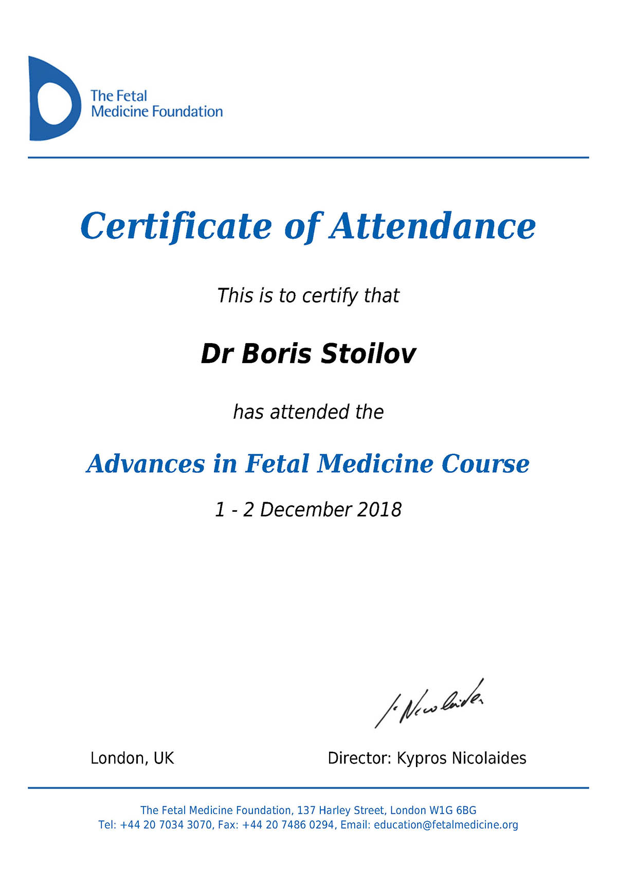 Advances in Fetal Medicine Course