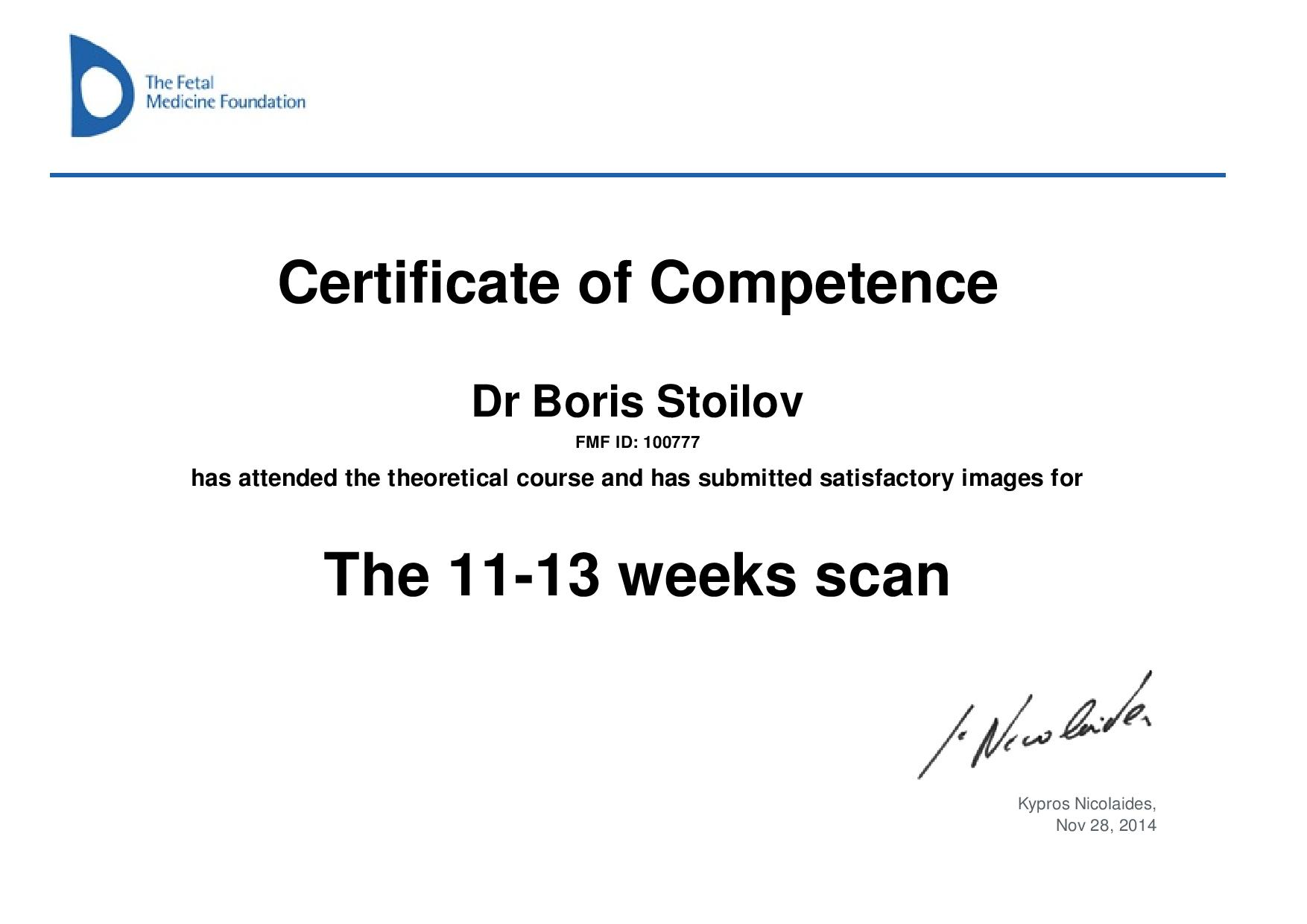 Certificate of competence in 11 - 13 weeks scan
