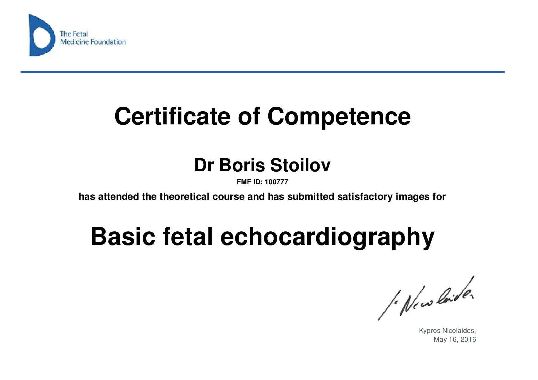Certificate of competence in FETAL ECHOCARDIOGRAPHY