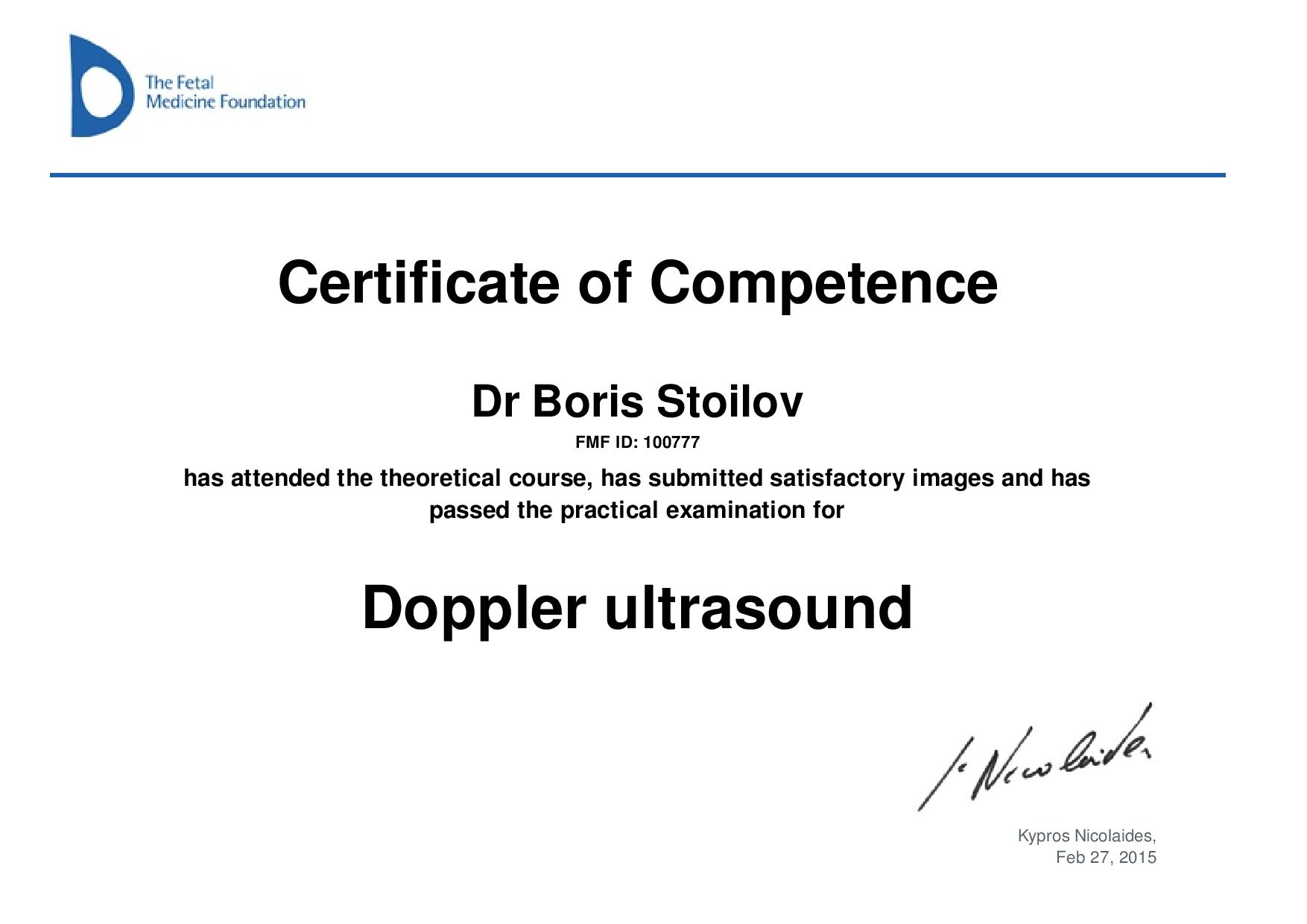 Certificate of competence in Doppler ultrasound