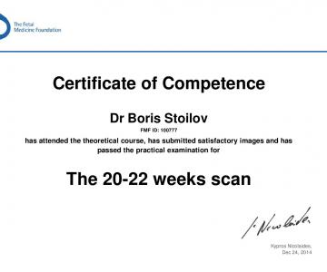 Certificate of competence in 20 - 22 weeks scan